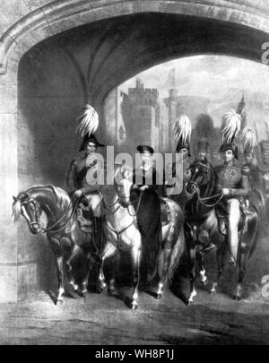 Queen Victoria passing out of Windsor Castle in 1838 on her way to a Royal Review  from the Illustrated Sporting and Drammatic News 19 June 1897 page - Stock Photo