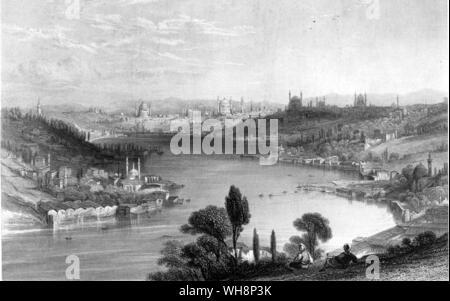 The Golden Horn and Constantinople from a nineteeth century engraving - Stock Photo