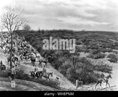 The Quorn, 1895. This was the second season of Lord Lonsdale's mastership. Hounds are here drawing Walton Thorns, one of several famous coverts drawn after a meet at Six Hills, six miles from Melton. Painting by Major G.D. Giles. - Stock Photo
