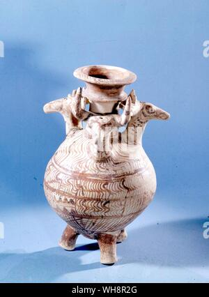 Bull and stags and seven openings.  Ritual vessel from a chamber tomb at Volimidia, near Pylos. - Stock Photo