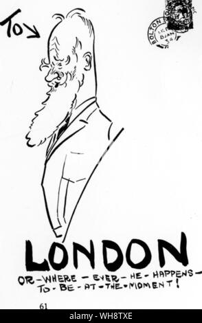 From an envelope which arrived safely at George Bernard Shaw's London flat - Stock Photo