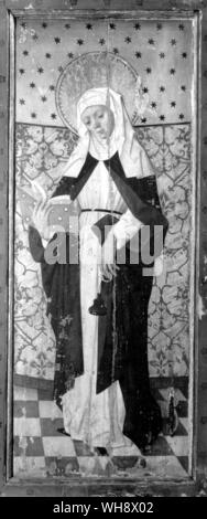 Saint Bridget of Vadstena, panel of a retable from Salem church, Sodermanland - Stock Photo
