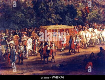 The entry of Louis XIV and Marie-Therese into Arras, 30 July 1667.  Detail from a painting by Antoine van der Meulen for Marly.  The King, with his br - Stock Photo