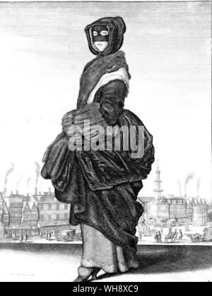Winter fashion during the first civil war from the Seasons a etching by Wenceslaus Hollar 1643 - Stock Photo