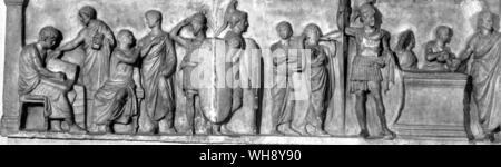 Slab from the so-called altar of Domitius Ahenobarbus, showing census-taking or enlistment, 1st half of 1st century b.c.. 7 inches in height.. - Stock Photo