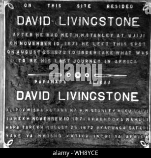 Two plaques marking Livingstone's parting from Stanley on March 14th, 1872, and the site of Livingstone's home after his meeting with Stanley until August 25th, 1872, on which date he set off on what was to be his last journey. - Stock Photo