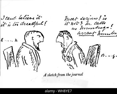 A sketch from General Gordon's journal. Cartoon. - Stock Photo