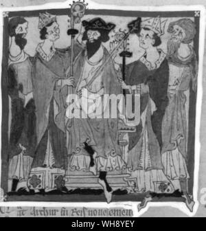 From Thirteenth Century Chronicle of Wace: King Arthur Crowned - Stock Photo