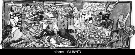 The dying King Arthur borne away by cart from the Battle of Camlann after killing Mordred - Stock Photo