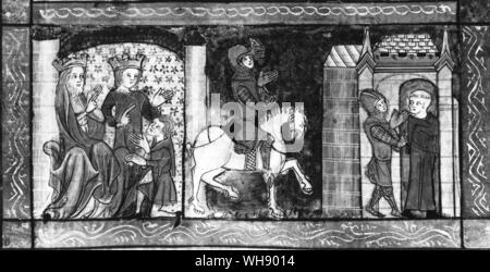 The vengeful Gawaine parting from King Arthur and Guinevere to set out on a mission of valour - Stock Photo