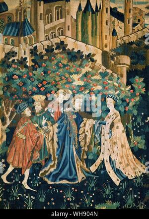 Geoffrey Chaucer becomes a page from  Arras Tapestry - Stock Photo