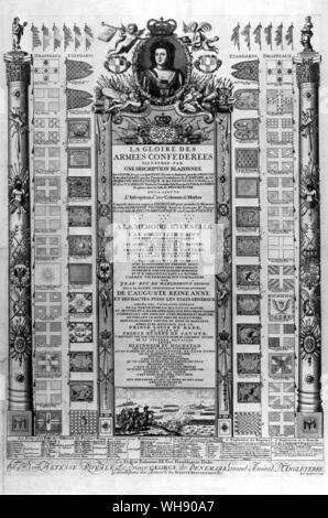 The Glory of the Allied Armies illustrated by an emblazoned description of 128 flags and 35 displayed standards captured from the French and the Bavarians by the allied troops of the Empire and her Britannic Majesty and the United Provinces on 2 August 1704, carried in triumph from the Tower through the City of London to Westminster Hall. Engraving by R. Spofforth - Stock Photo