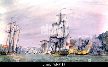 The Albemarle by Robertson. She was a 28 gun frigate captured from the French and one of the first ships Nelson commanded as captain. He took her to A - Stock Photo