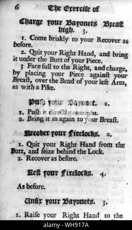 A page from The Exercise of the Firelock and Bayonett, a drill manual in use in Marlborough's day - Stock Photo