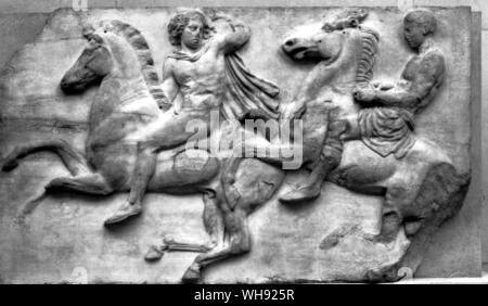 Greek, Horsemen from the Parthenon Frieze, Demeter, c.330 BC . Marble, height is 58 inches (148 cm) - Stock Photo