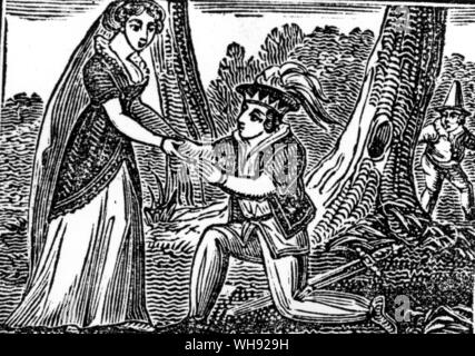 Woodcut from a penny edition chapbook, The History of the Yellow Dwarf, printed in Glasgow in 1852. - Stock Photo