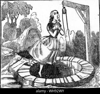 The Three Heads In The Well. Woodcut by James March from his penny Fairy Tales, 1854, illustrating a 'Frau Holle' version of the tale.. - Stock Photo