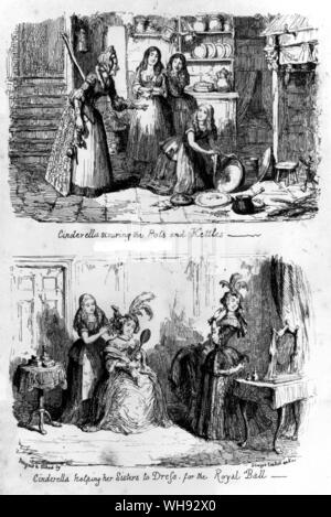 Top: Cinderella in her humble state, etching by George Cruikshank from his Fairy Library, 1854.. - Stock Photo