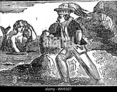 The Yellow Dwarf. Wood cut from a penny chapbook, The History of the Yellow Dwarf, 1852.. - Stock Photo