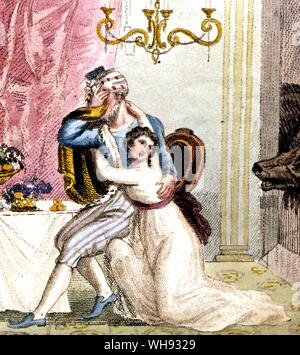 Beauty and the Beast. Hand-coloured copperplates from the 1813 edition of Beauty and the Beast.. - Stock Photo
