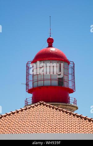 Lighthouse at Cabo de Sao Vicente, Sagres, Portugal - Stock Photo