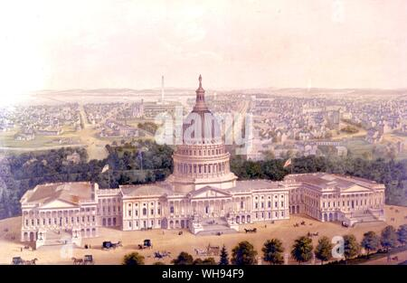 Artist view of Washington 1856 wrong as monument was not finished until many years later - Stock Photo