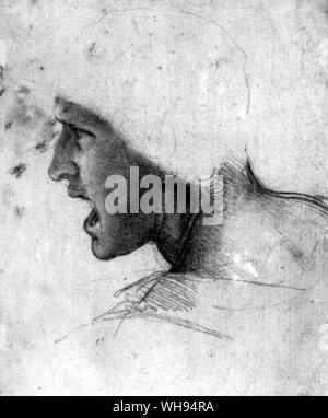 Anxious and angry faces drawn as studies for The Battle of Anghiari - Stock Photo