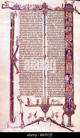 Manuscript 13 century page from William of Devon's Bible - Stock Photo