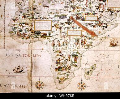 Sixteenth centry map of Africa. Details from Pierre Descelie's Mappemonde. - Stock Photo