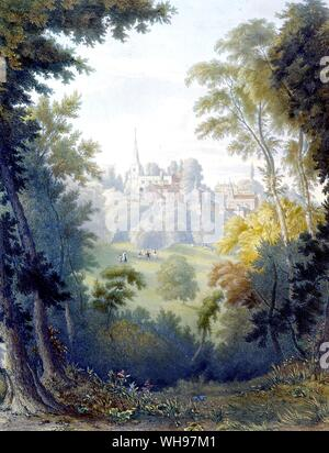 View of Harrow, from east side of park 1845 - Stock Photo