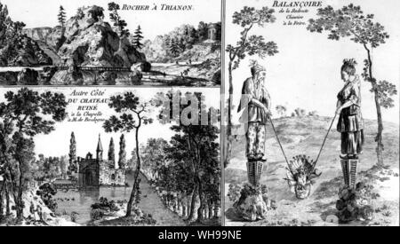 Three aspects of the landscape garden, from Le Rouge. The wilderness, the romantic ruin (possibly a fake) and a chinoiserie swing - Stock Photo