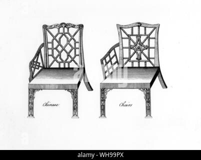Designs for Chinese chairs. From 'The Cabinet and Chairmaker's real friend and Companion' by Robert Manwaring, 1765. - Stock Photo