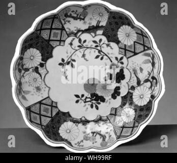 Worcester plate - the 'Old Japan' pattern: copied from the Japanese in China, and at Chelsea, Bow and Worcester - Stock Photo