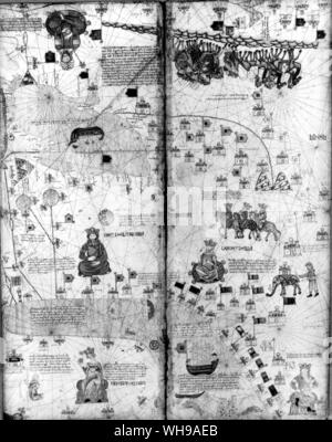 A page from the Catalan Atlas of 1375 partly based on information brought back by travellers to the Orient. - Stock Photo