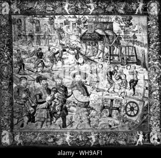 A 16th centur Brussels tapestry from a series showing the deeds of Jaoa de Castro, governor of Goa in 1547.  See also illus. 26 and 60 - Stock Photo