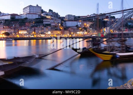View from Gaia to Porto with Douro river in the evening, Portugal - Stock Photo