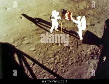 Space  Astronauts on the moon. Neil Armstrong and Edwin  Aldrin, Apollo 11 - Stock Photo