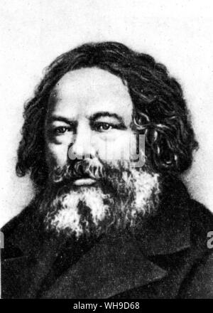 Mikhail Aleksandrovich Bakunin (1814-1876). Russian anarchist, active in Europe. In 1848 he was expected from France as a revolutionary agitator. - Stock Photo