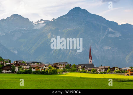 View of village Church in the Tuxertal valley, Mayrhofen, Zillertal Valley, Tyrol, Austria, Europe - Stock Photo