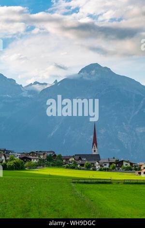 View of village Church in the Tuxertal valley, Mayrhofen, Zillertal Valley, Tyrol, Austria, Europe - Stock Photo