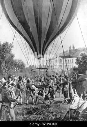 On 16th September 1804, Humboldt's friend Gay-Lussac made a remarkable solo balloon ascent from Paris in order to carry out scientific observations at high altitude. He reached a height of 23,000 feet, thus beating Humboldt's own world altitude record on Chimborazo - Stock Photo