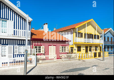 Palheiros typical houses, Costa Nova Beach, Aveiro, Venice of Portugal, Beira Littoral, Portugal, Europe - Stock Photo