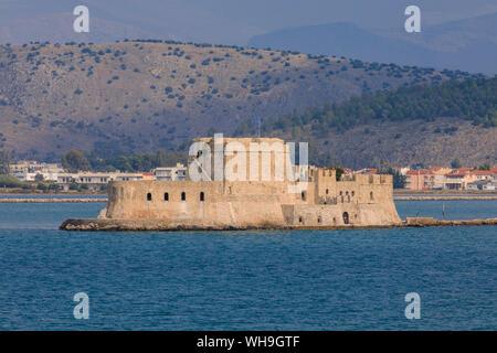 Sunlit Venetian Bourtzi Fortress, island, Nafplio (Nafplion), near Argos, Argolic Gulf, eastern Peloponnese, Greece, Europe - Stock Photo