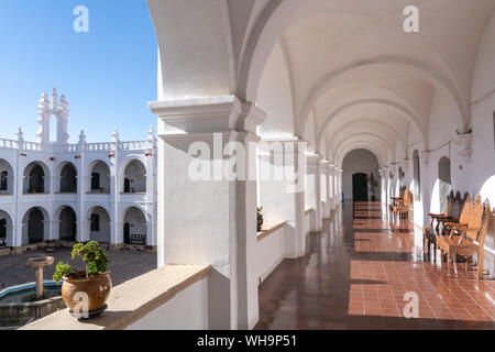 Courtyard and corridor inside neo-classical Church and Monastery of San Felipe Neri, Sucre, UNESCO World Heritage Site, Bolivia, South America - Stock Photo