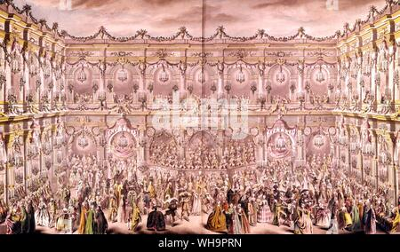 Detail from a perspective view of the ballroom constructed in the courtyard of the Hotel de Ville in Paris on the occasion of the Duphin's first marriage to Marie-Therese, Infanta of Spain, by Charles-Nicolas Cochin - Stock Photo