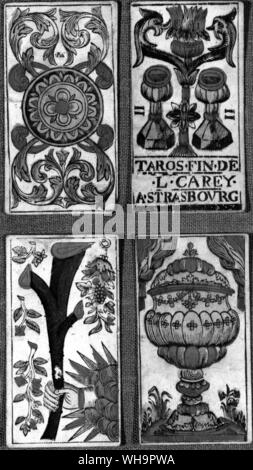 Tarot card - The Two of Cups, from a pack of the Marseilles type (top right) - Stock Photo