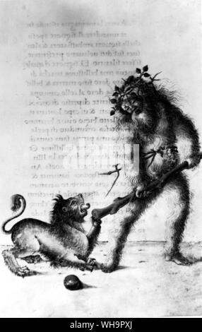 The Wild Man, from a Latin codex: the Tarot Fool has been connected with the Wild Man or Green Man, who led springtime processions in many parts of Eu - Stock Photo
