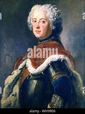 Frederick the Great, by Antoine Pesne - photo from Madame de Pompadour's biography - Stock Photo