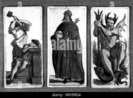 From an Italian pack of the early 18th century - left to right - an execution curiously entitled the Hanged Man; the Female Pope; and the Devil - Stock Photo