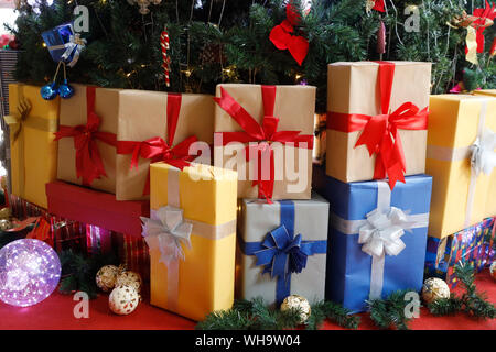 Decorated Christmas tree with presents, Vietnam, Indochina, Southeast Asia, Asia - Stock Photo